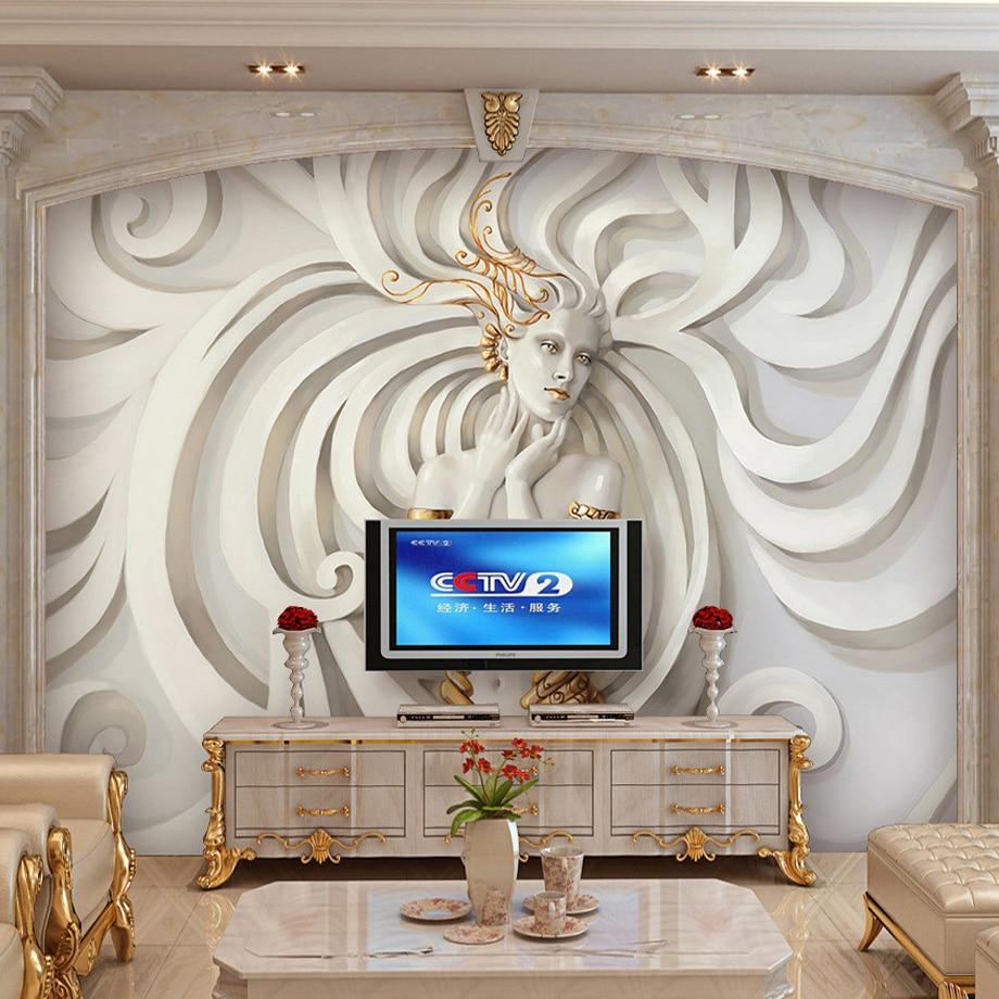3d Stereoscopic Mural Wallpaper Custom Size 3d Stereoscopic Relief Sculpture Beauty Tv