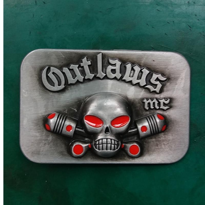 1 piezas de la marca de lujo de los forajidos MC cráneo cinturón de hebilla