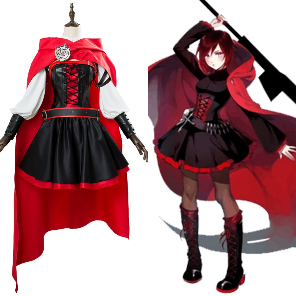 RWBY 3 Season Battler Costume Ruby Rose Cosplay Costume Dress Halloween Uniform Suit
