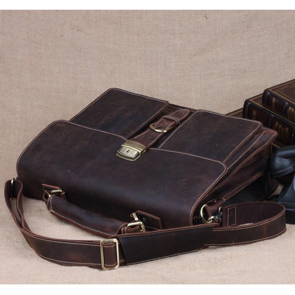 Aktentaschen Männer Business Leder Aktentasche Schulter Messenger Tasche Mann Handtasche Vertikale Taschen Für Laptop Herren Umhängetasche Aktentasche Taschen Geschickte Herstellung