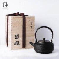Niepowlekanych 1.05L Nowy Handmade Drinkware Japoński Żeliwny czajnik Kung Fu smok filiżanka herbaty Oolong herbata Pu 'er Herbaty Puli Czajnik Box pakowanie