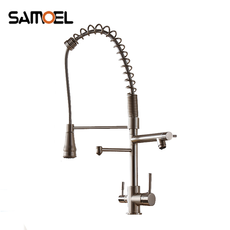 Contemporary solid brass brushed nickel 3 way pull out kitchen sink mixer deck mount dual handle