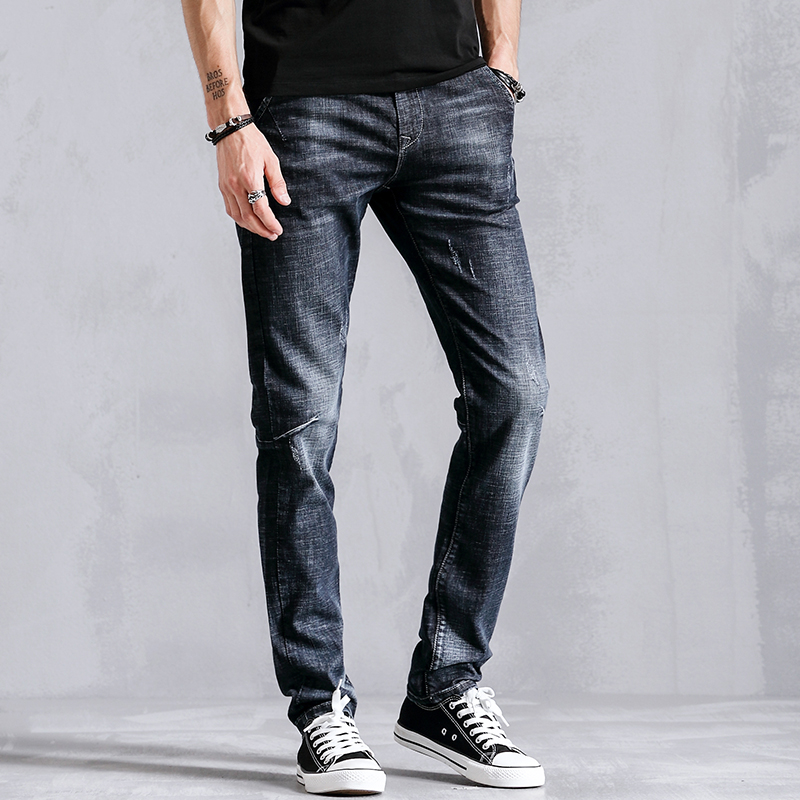 New Slim Fit Skinny Pencil Casual Jeans Men Clothes Distressed Fashion Male Denim Trousers For Mens Clothing Blue K8025