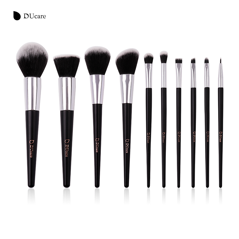 DUcare 10pcs Makeup Brushes Set Powder Foundation Eyeshadow Make Up Brushes Synthetic Hair Cosmetic Brush with PU Leather Bag gujhui 10pcs makeup brushes set cosmetic face foundation powder eyeshadow blush blending contour make up brush with puff and bag