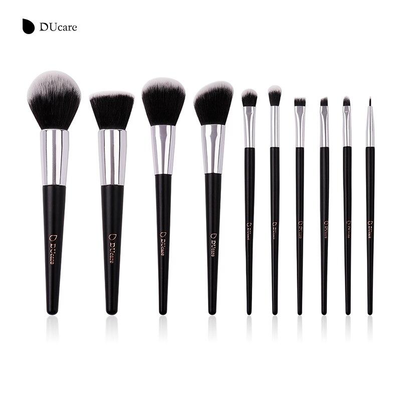DUcare 10pcs Makeup Brushes Set Powder Foundation Eyeshadow Make Up Brushes Synthetic Hair Cosmetic Brush with PU Leather Bag