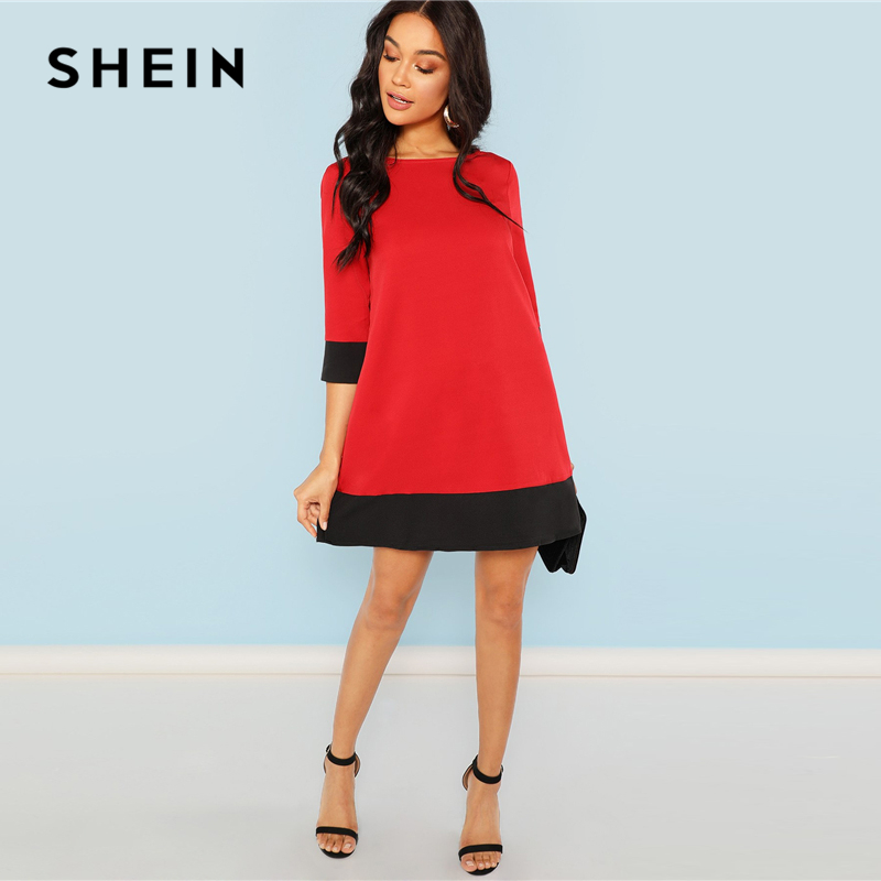 Image 4 - SHEIN Red Contrast Trim Tunic Dress Workwear Colorblock 3/4 Sleeve Short Dresses Women Autumn Elegant Straight Mini Dresses-in Dresses from Women's Clothing