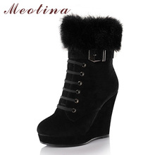 Meotina Shoes Women Boots Platform Wedge Boots Ladies Ankle Boots Winter Zip Rivets Autumn High Heels Shoes Black Brown 34-39