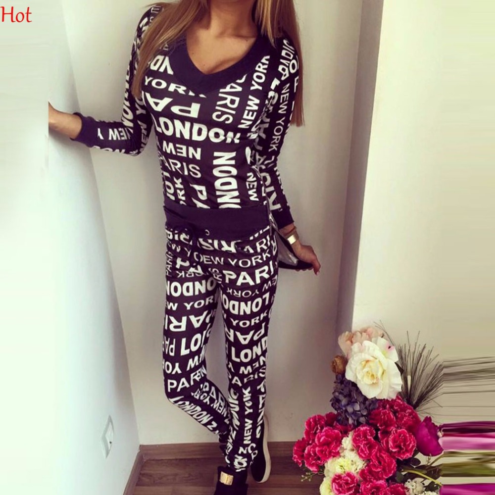Women Sweatshirts 2 Pieces V Neck Long Sleeve Irregular Pullover Elastic Waist Letters Print Long Hoodies Sweat Pants Set Hot