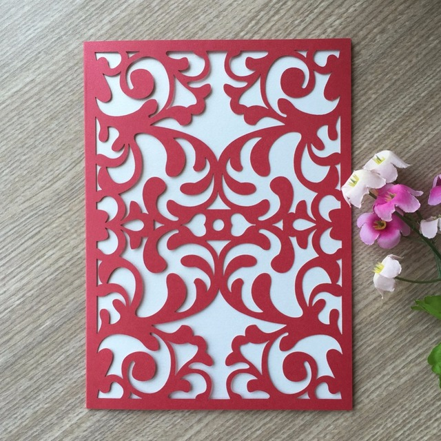 30pcs Lot Wedding Party Invitation Card Carved Chinese Red Delicate