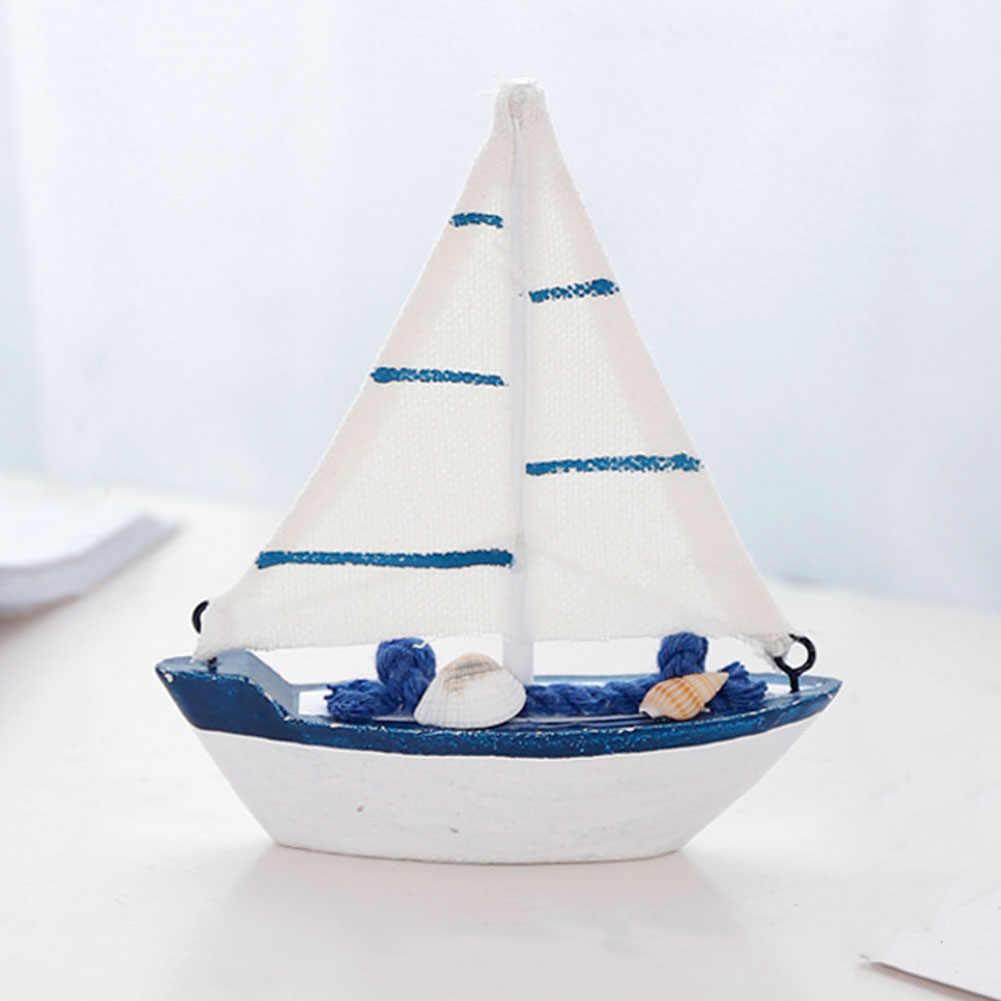 Домашний офис мини-игрушки Подарочная Мебель Детский Ретро Средиземноморский стиль реквизит морской под дерево декор спальня модель парусной лодки