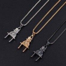 Punk Plug Maxi Necklaces Pendant Titanium Steel Hip Hop Rock Socket Electrical Jewelry For Men Women xlct042