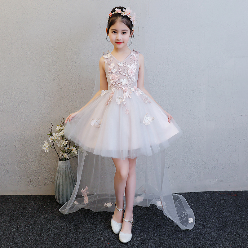 2-10Years Trails Princess Dress First Communion Dresses Kids Pageant Gown Appliques Girl Summer Dress Ball Gown New Design E267 2 12 years ball gown for girl kids communion pageant gown appliques lace floral dresses kids princess dress off shoulder gowns