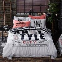 Printed Leaf Cotton Bedding Set Brief Style Bed Sheets Set Home Textile Super Soft Bedding Linen