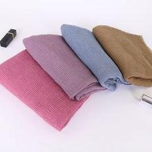 Dames Solide Pli souple hijab écharpe musulmane Pli écharpes coton  enveloppe châles extensible bandeau longues écharpes 7abb284c35d