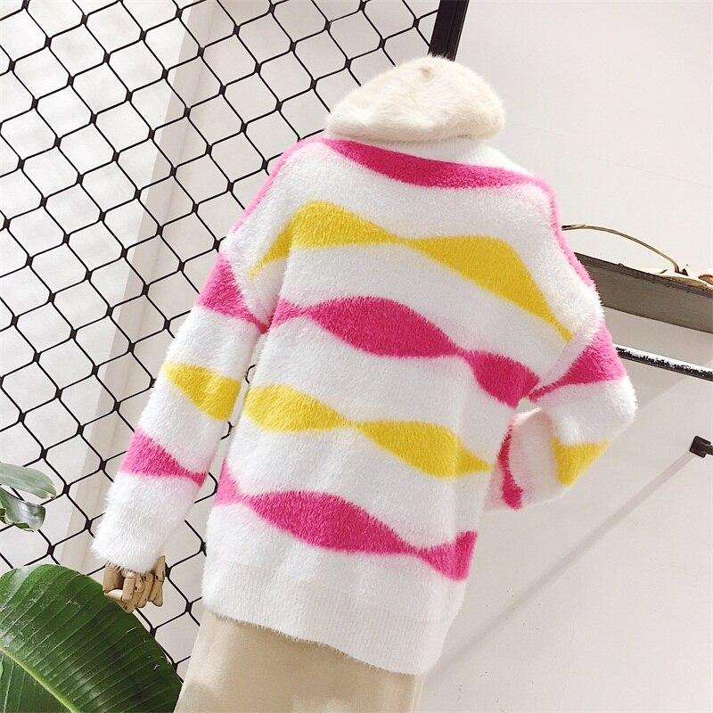 V Longues Doux Chandail Automne Col Hiver Couture Pull Blanc Et À Simple Japonais Manches wXHqAXZF
