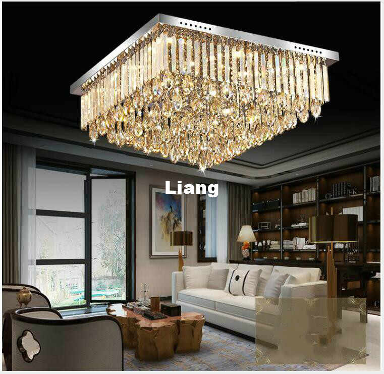 Newly Modern Led Crystal Ceiling Lamp Modern Square Champagne Crystal Chandelier Flush Mount Lighting For Office Home Decoration Aliexpress