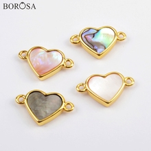 BOROSA 10Pcs New Heart Gold Bezel Abalone Shell Natural White Connector Jewelry Findings for Necklace as Gift WX1174