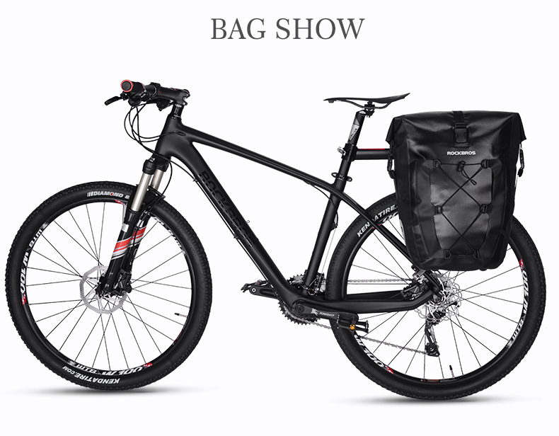 f143758391a ROCKBROS bolsa de bicicleta impermeable 27L viaje ciclismo bicicleta bolsa  trasera asiento trasero maletero bolsas Pannier MTB bicicleta de montaña ...