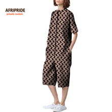 2017 fall new women jumpsuit AFRIPRIDE private custom female loose half sleeves knee-length casual jumpsuit plus size A722105