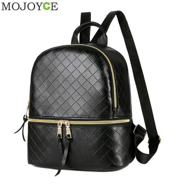 3ca1fc7eb8 Preppy Style PU Leather Women Backpack Brand Fashion School Bags for Teenager  Girls Plaid Casual Shoulder Bag Travel Rucksacks