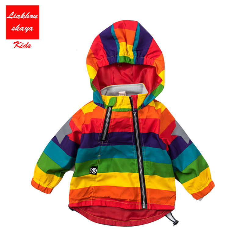 Casual Children <font><b>Jackets</b></font> Kids Rainbow Coats Boys <font><b>Bomber</b></font> <font><b>Jackets</b></font> 2017 New Spring Baby Girls Windbreaker Boys Outerwears 24M-6Y image