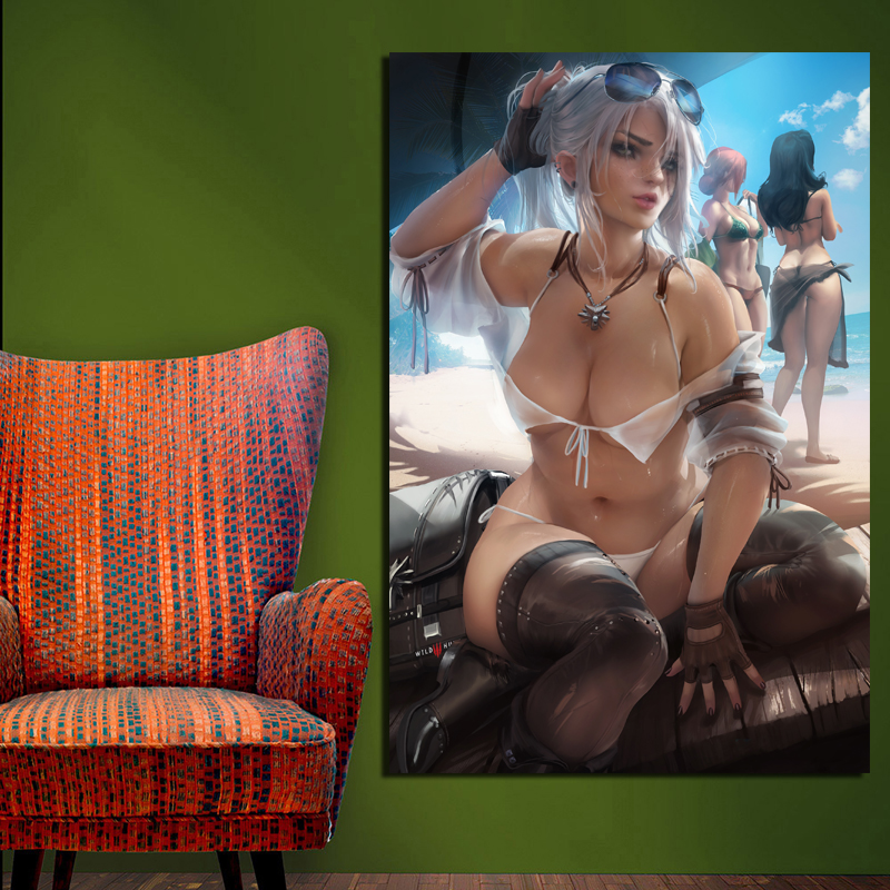 The Witcher Sex Sakimichan Ciri Wall Art Canvas Painting Posters Prints Modern Painting Wall Pictures For Living Room Home Decor in Painting Calligraphy from Home Garden