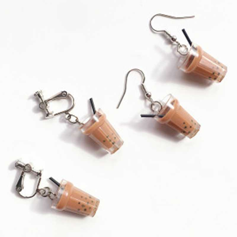 Creative Unique Bubble Tea Charms Drop Earrings Personality Resin Milk Tea Drink Earring For Girl Funny Party Jewelry Gifts