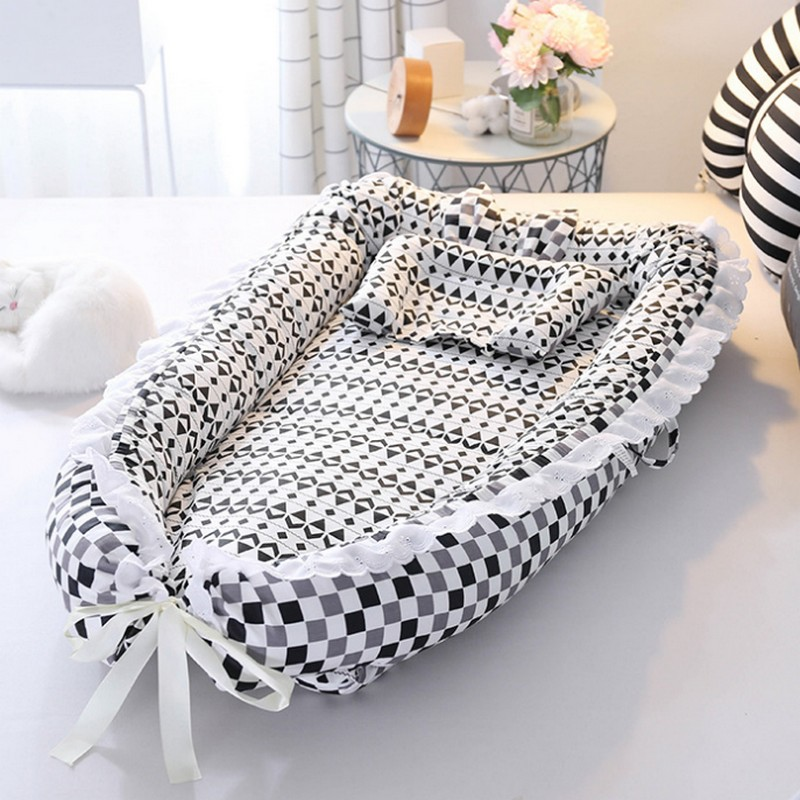 Portable baby bed sets 2018 INS new cloudy baby nest bed, Newborn foldable sleeper bed Crib portable kids bed 3pcs/set crib cots 3pcs ins style baby bed set fun wave point plaid crib bedding 100