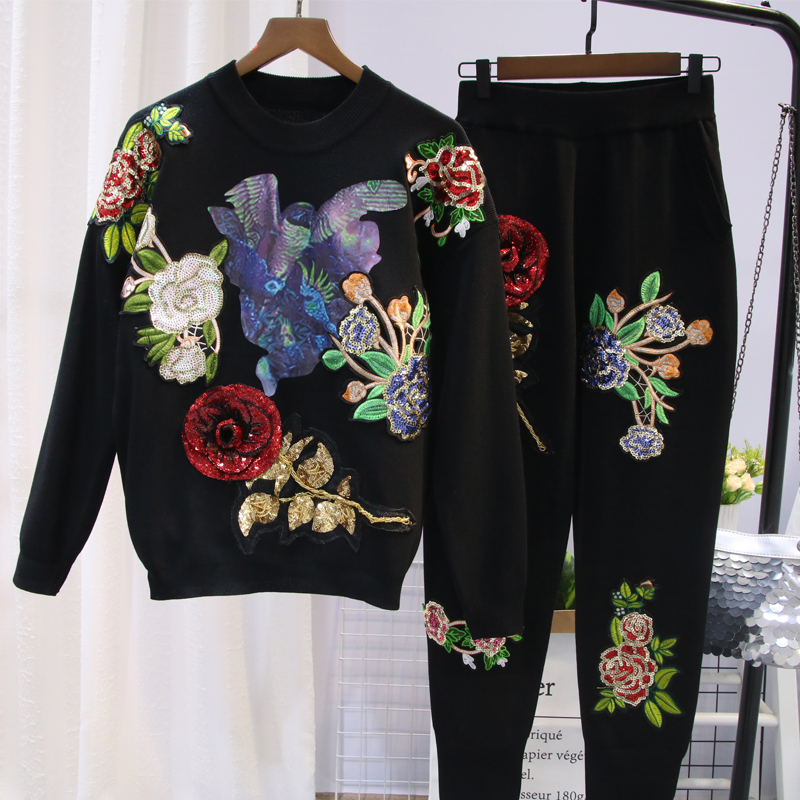 Women Sweater Suit and Sets Casual Knitted Sweaters Pants 2pcs Track Suits Woman Casual Trousers+Jumper Tops Clothing Set WS110