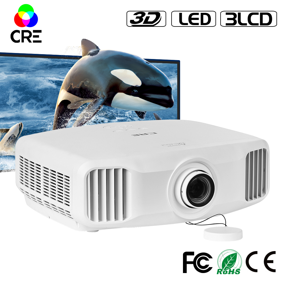 CRE X8000 Native 1920x1200 multimedia projector,3LCD +LED Projector ,RGB WIFI full hd 2k support 4k 3d led projector led телевизор sharp lcd 60lx850a 60 wifi 3d