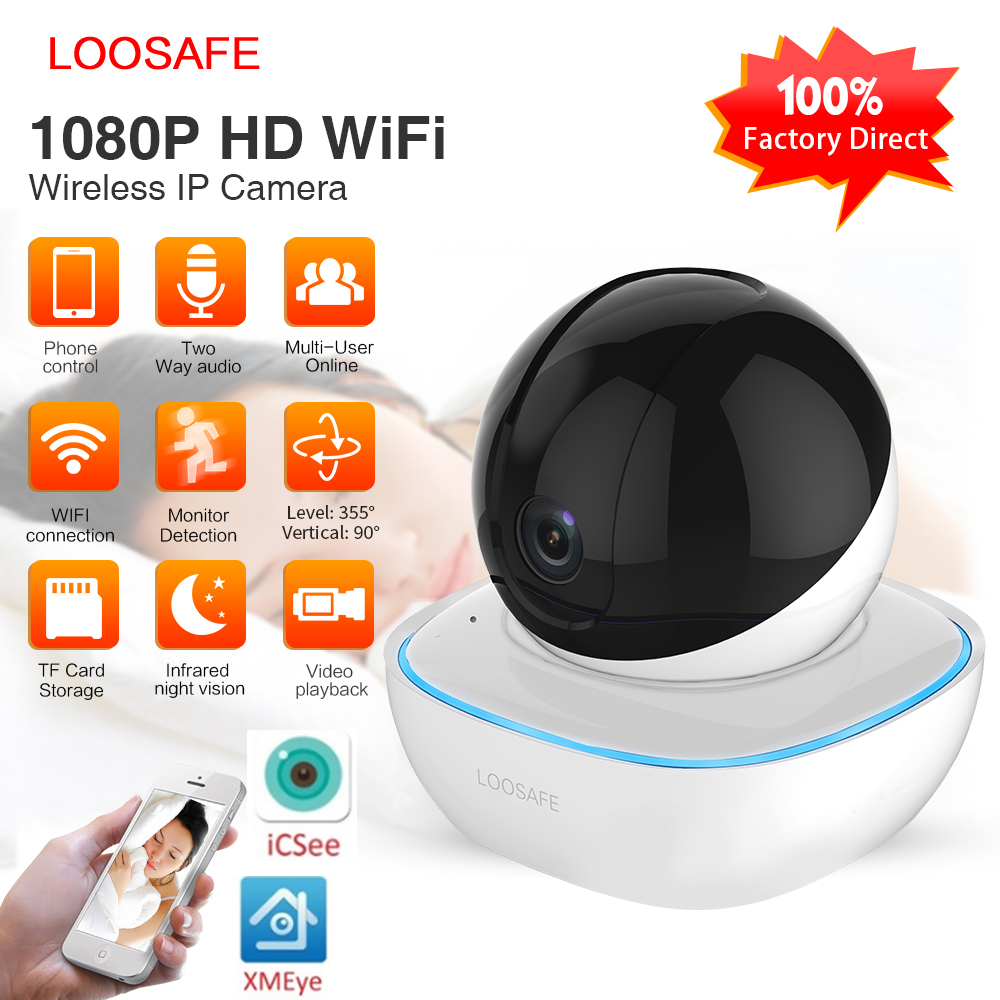 LOOSAFE HD Security IP Camera Wi-Fi 1080P Wireless Home Security Surveillance Alarm  Night Vision P2P CCTV Camera Baby Monitor