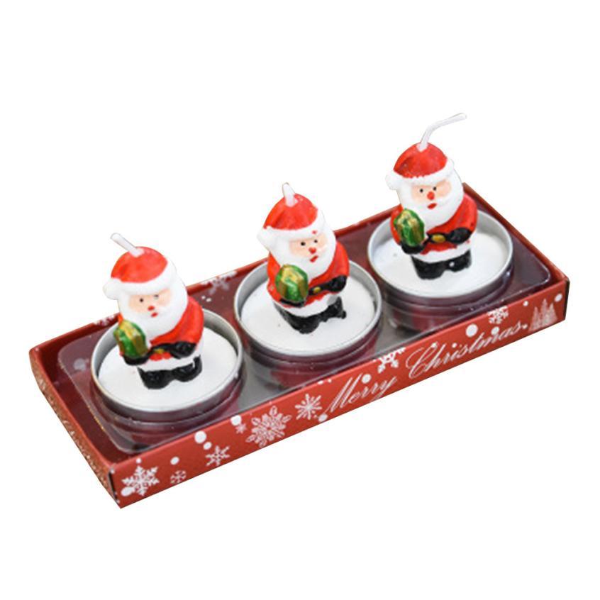 3pcs/1 box Christmas Candles with Santa House Snowman Xmas Party Gift Home Decor #15