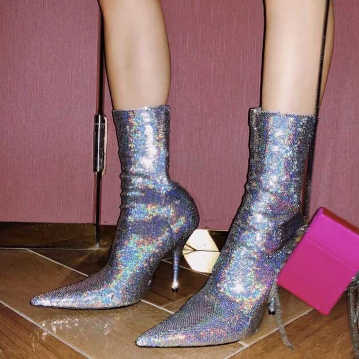 Блестящие ботильоны из блестящей ткани с блестками; Цвет серебристый, золотой; женская обувь; стильные женские ботинки на высоком каблуке-шпильке; сезон весна-лето