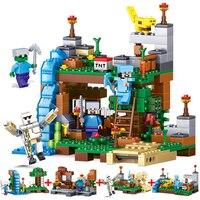 Qun Long My World Assembled Small Granule Blocks Dolls Village Tree House Boys Pinch Puzzle Toys