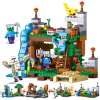 Qun Long My World Assembled Small Granule Blocks Dolls Village Tree House Boys Pinch Puzzle Toys