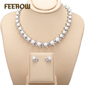 FEEROW Silver Plated Luxury Marquise Zircon Jewelry Simulated Pearl Surounded Jewelry Set For Bridal Accessories FWSP030