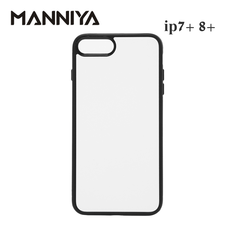 MANNIYA 2D Sublimation Blank rubber Case for iphone 7 plus 8 plus with Aluminum Inserts and glue Free Shipping! 100pcs/lot