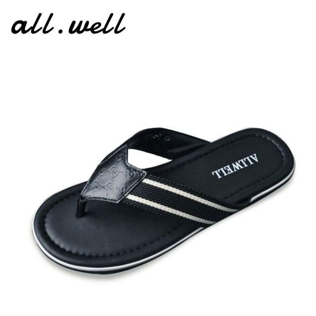 86d76363f239 Men s Classic Embossing Genuine Leather Flip Flops 2017 Top Brand 100%Import  Cowhide Mens Sandal Flat Sandals Black Summer Shoes