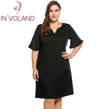 IN'VOLAND Women's Casual Dress Oversized Notch Neck Flare Sleeve Solid Shift Beach Dresses Feminino Vestiods Plus Size L-4XL
