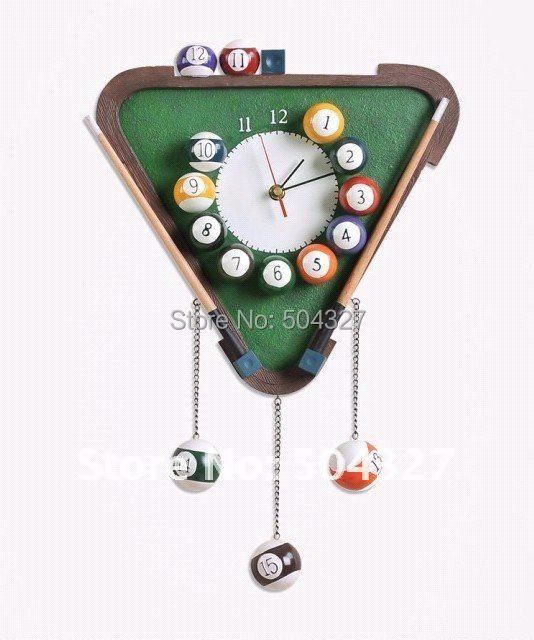 Free shipping 1Piece Pool Balls Triangle Billiard Table Wall Clock Room Decor Quartz Clock