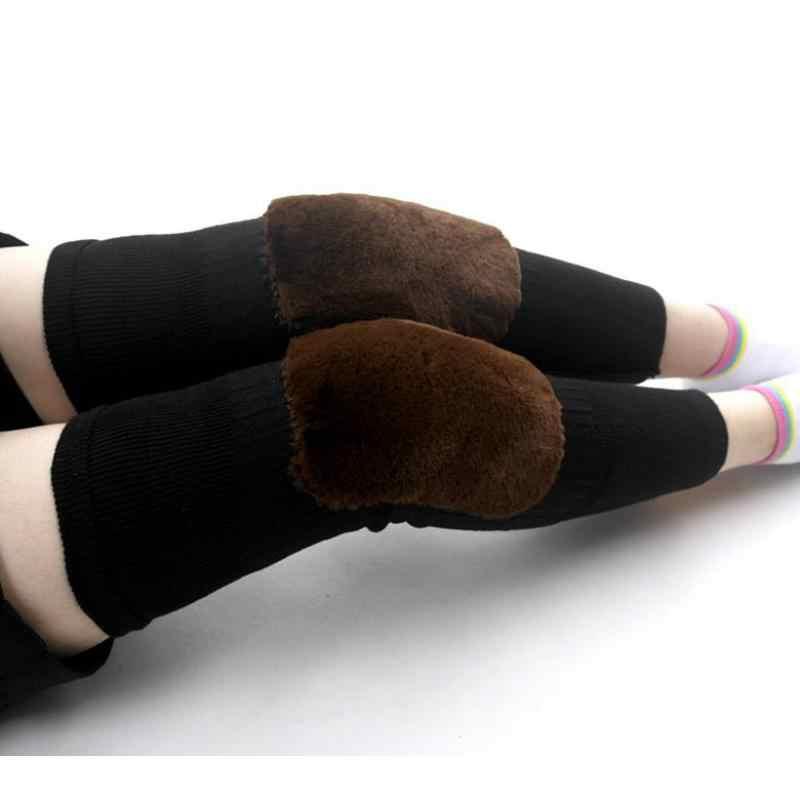 Bohemis damskie zimowe nad kolano długi dzianiny szydełka getry ciepłe kobiece grubsze wełny wysokiej Knee Boot skarpety czarne i szary BAC331