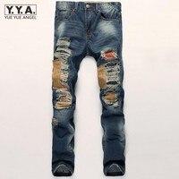 New Fashion Men Patchwork Jeans Personality Punk High Street Men Ripped Denim Trousers Slim Fit Zipper