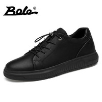 BOLE New Large Size 36 47 Genuine Leather Sneakers Men Casual Flat Shoes Rubber Round Sole Shoes Spring Autumn Leather Shoes Men