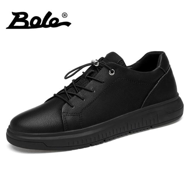 BOLE New Large Size 36-47 Genuino Sneakers In Pelle Uomo Casual Scarpe  basse Rotonda b87fb0bdc2f