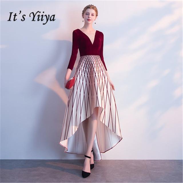 Это yiiya v-образным вырезом три четверти рукав асимметричный Элегантные Роскошные Вечерние платья Известный Дизайнер Вечерние торжественное платье lx234