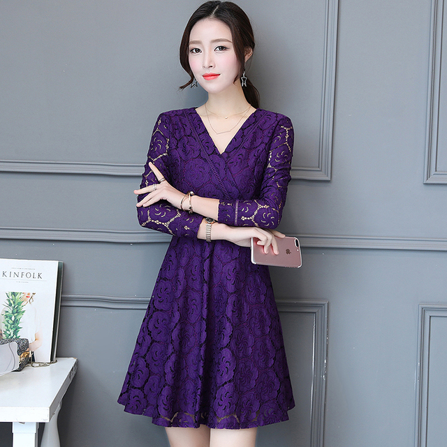 autumn outfit new v-neck lace dress Korean fashion design women v neck dress  party clothes sexy clothing vestidos lady M-XXL 221a00f4d924