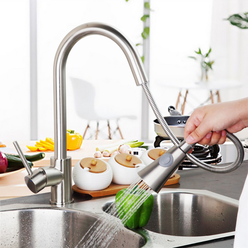Deluxe Pull out Spray Kitchen Faucet Mixer Tap Pullout Sprayer Kitchen Faucet Nickel Brushed brass material