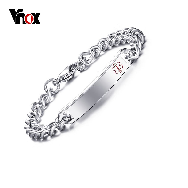 Vnox Free Engraved Medical Alert Bracelet Bangle For Women Stainless Steel Not Allergic In Id Bracelets From Jewelry Accessories On Aliexpress