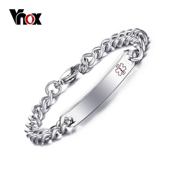 Vnox Free Engraved Medical Alert Bracelet Bangle For Women Stainless Steel Not Allergic