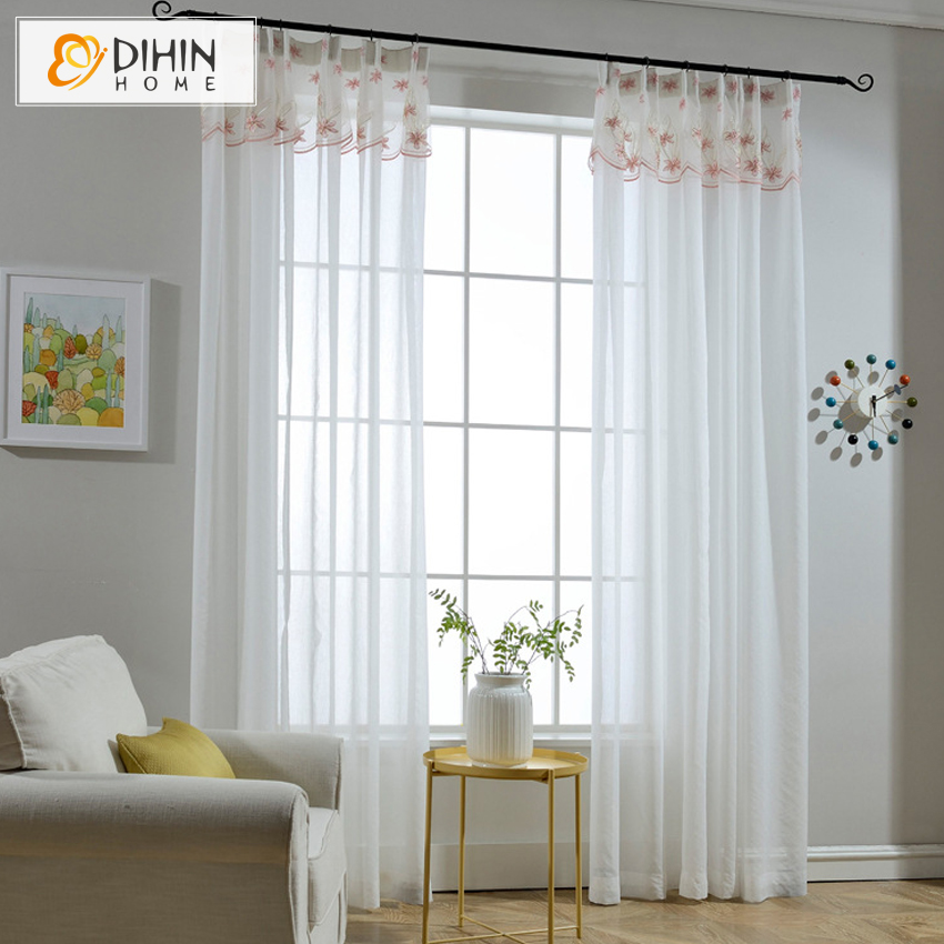 DIHIN HOME White Color Home Decorations Window Treatments Modern Style Living Room Divider Sheer Voile Curtain